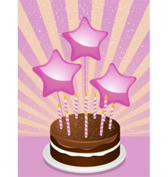 birthday chocolate cake and balloons vector image vector image