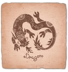 Dragon Chinese Zodiac Sign Horoscope Vintage Card vector image