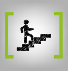 man on stairs going up black scribble vector image