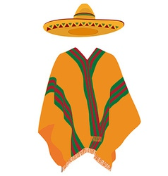 Sombrero and mexican poncho vector