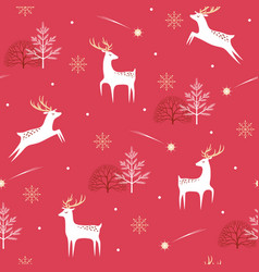 christmas deer pattern on red background vector image vector image