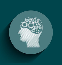 human brain mechanism with cogs and gears written vector image vector image