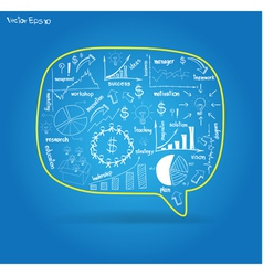 speech bubble with drawing business plan vector image vector image
