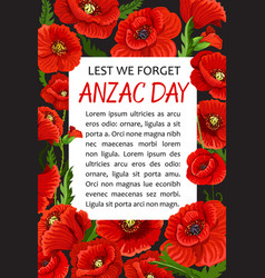 Anzac day poppy lest we forget poster vector