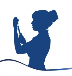 assistant silhouette blue on white vector image