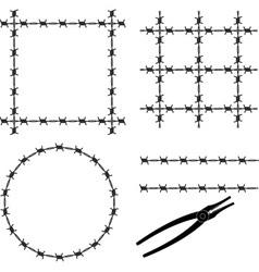 barbed wire stencil vector image vector image
