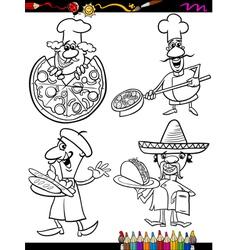 cook chefs set cartoon coloring book vector image