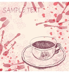 Handwritten background with a tea cup vector image vector image