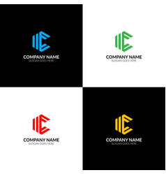 letter c in rhombus logo icon flat vector image