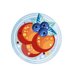 pancakes with blueberries on a vector image