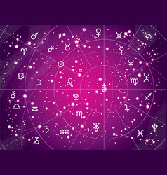 xii constellations of zodiac antique purple vector image vector image