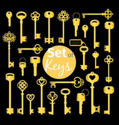 antique and modern gold keys set vector image vector image