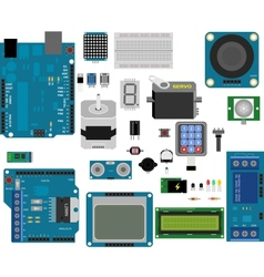 Arduino electronic elements vector image vector image