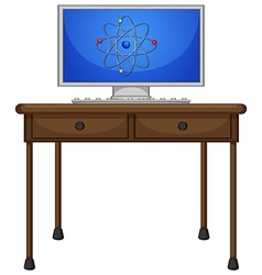Computer on the wooden table vector image vector image
