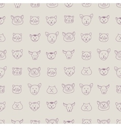Cute seamless pattern with hand-drawn cat faces vector image