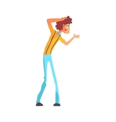 Flamboyant know-it-all guy character in blue bow vector