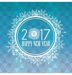 happy new year 2017 greeting card snowflakes round vector image vector image