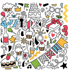 066-hand drawn party doodle vector