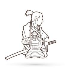 2 samurai composition cartoon outline vector image