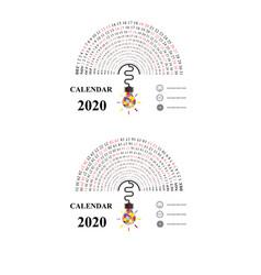2020 calendar template with idea light bulb vector image
