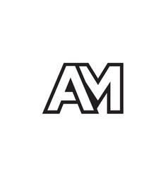 A m lines letter lines logo design vector