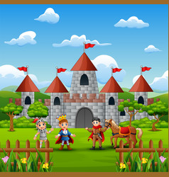 A prince and knight in front of the castle vector