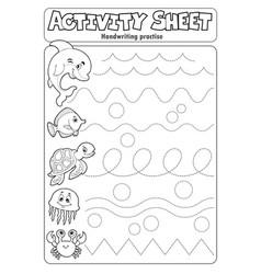 Activity sheet handwriting practise 3 vector