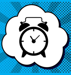 alarm clock sign black icon in bubble on vector image