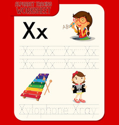 alphabet tracing worksheet with letter x and x vector image