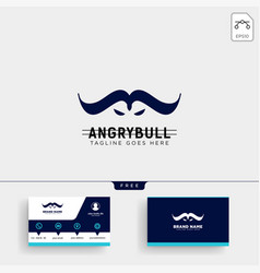 angry bull logo template and business card design vector image