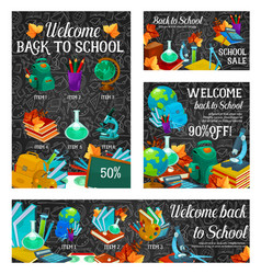 back to school supplies discount offer sale banner vector image