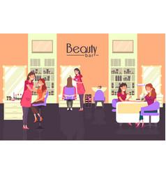 Beauty bar with nail master and haircutter vector