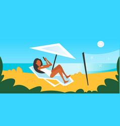 Bikini woman sunbathing on sea beach girl in vector