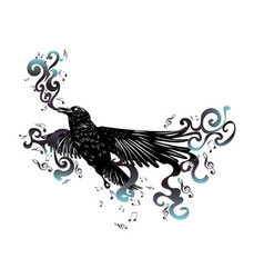 black raven with music notes vector image