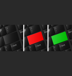 Blank keyboard buttons set red button green vector