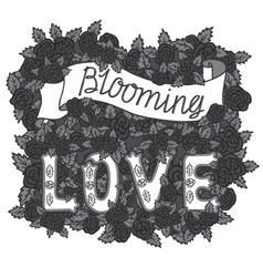 blooming love romantic vintage art hand vector image