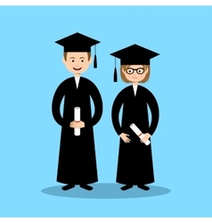 Boy and girl graduates vector image