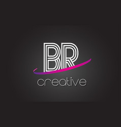 br b r letter logo with lines design and purple vector image