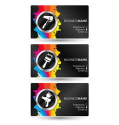 business card painting set vector image