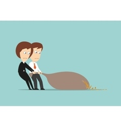 Business colleagues losing coins from money bag vector