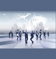 business team silhouette businesspeople group vector image