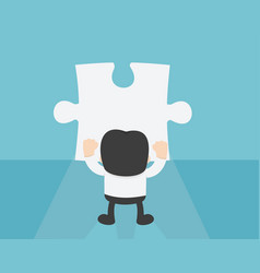 Businessman standing in front of blank puzzle vector