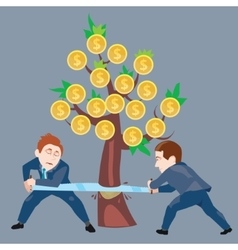 Businessmen sawing money tree vector