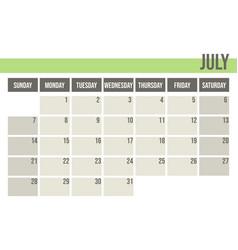 calendar planner 2019 monthly planner july vector image