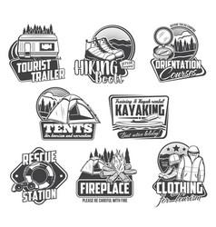 camping hiking kayaking icons travel tourism vector image