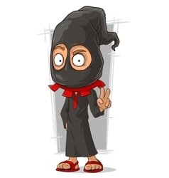 Cartoon funny executioner in black mask vector