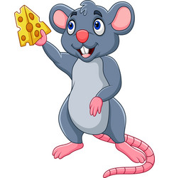 cartoon mouse showing slice of cheese vector image