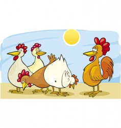 cartoon rooster and hens vector image