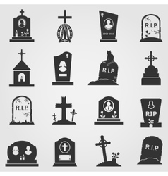 Cemetery crosses and gravestones icons vector