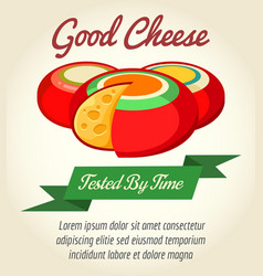 Cheese product retro poster vector